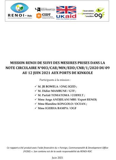 RAPPORT MISSION RENOI DE SUIVI DES MESURES AUX PORTS DE KINKOLE ET COMMUNIQUE DE PRESSE N°01 /RENOI-RDC/2021